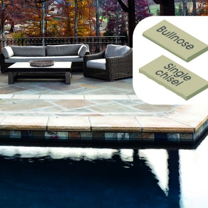 POOL COPING - 'Classicstone' Golden Fossil-Natural Sandstone with a Textured, Flat Surface & Choice of Edge