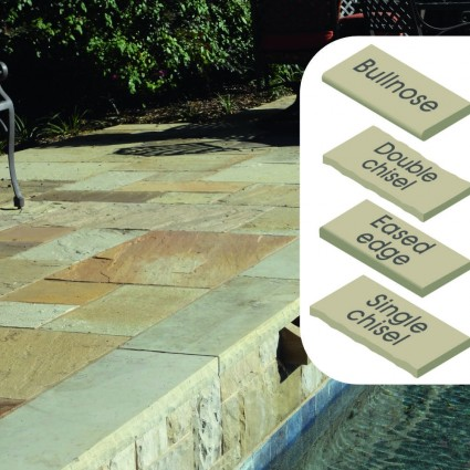 POOL COPING - 'Classicstone' Harvest-Natural Sandstone with a Cleft Surface & Choice of Edge
