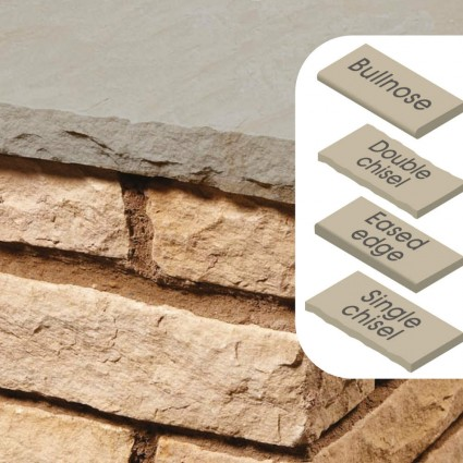 WALL COPING - 'Classicstone' Lakeland-Natural Sandstone with a Cleft Surface & Choice of Edge