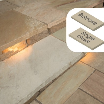 STEP COPING - 'Classicstone' Golden Fossil-Natural Sandstone with a Textured, Flat Finish & Choice of Edge