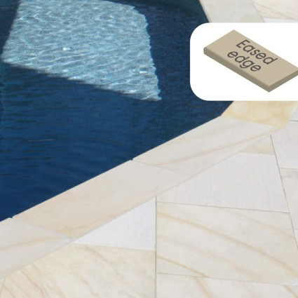POOL COPING - 'Premiastone' Ivory-Natural Sandstone with a Smooth Finish & Eased Edge