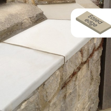 WALL COPING - 'Premiastone' Ivory-Natural Sandstone with a Smooth Finish & Eased Edge