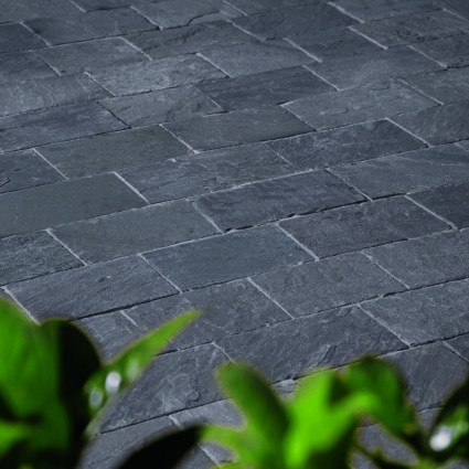 DRIVEWAY PAVERS - 'De Terra' Charcoal-Natural Limestone with an Aged Finish