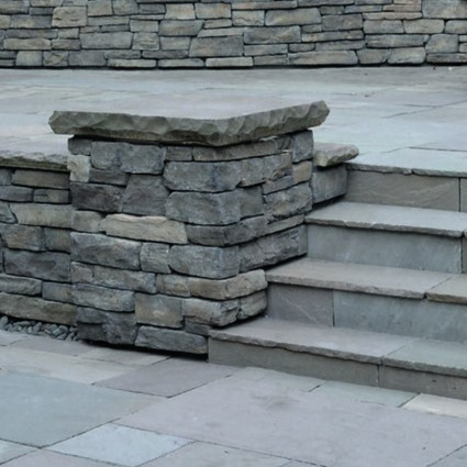 PIER CAPS - 'Classicstone' Promenade-Natural Sandstone with a Cleft Finish & Chiselled Edge