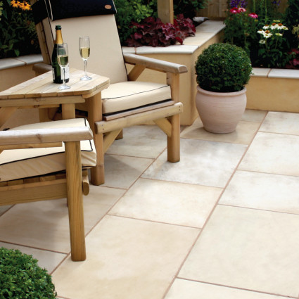 PATIO PAVERS - 'Premiastone' Ivory-Natural Sandstone with a Smooth Finish
